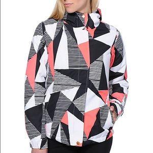 NWOT Geometric Coral Black Ski Snowboard Jacket